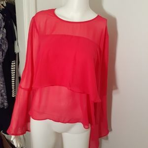 Belle and Sky flowy pink shirt m blouse